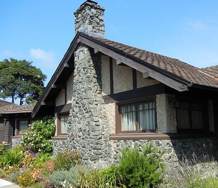dark stone house
