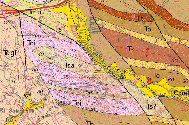Oakland Geology Focused On Near And Under Oakland California - West coast us rock age map geology
