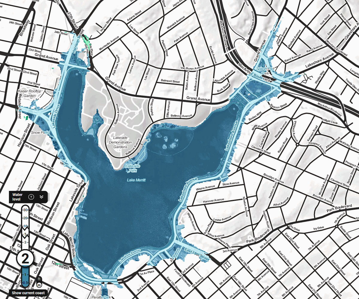 map of lake merritt A Walk Around Lake Merritt In 2100 After Sea Level Rise Oakland map of lake merritt